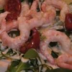 Glutenfri boghvedepandekager med pesto, spinat,  rucola og rejer (galetter)