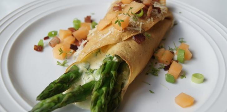 Post image for Pandekager med ost, asparges, bacon og melon