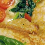 Pandekager med spinat, hvidløgsstegte svampe og ost